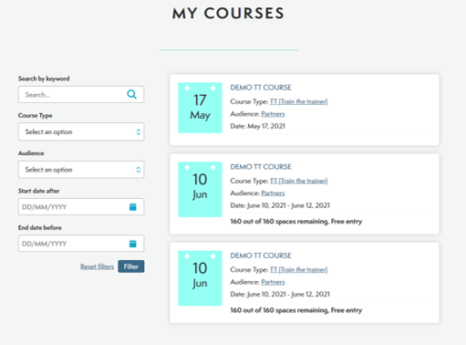 Image of a surgical training course management software