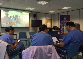 Staff sat on laptops at a trainer course.